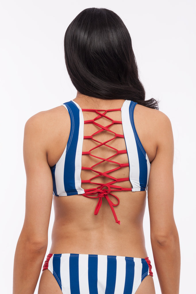 Red White and Blue Stripe Criss Cross Back Crop Bikini Top