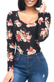LONG SLEEVE FLORAL BODYSUIT WITH ROUND NECKLINE
