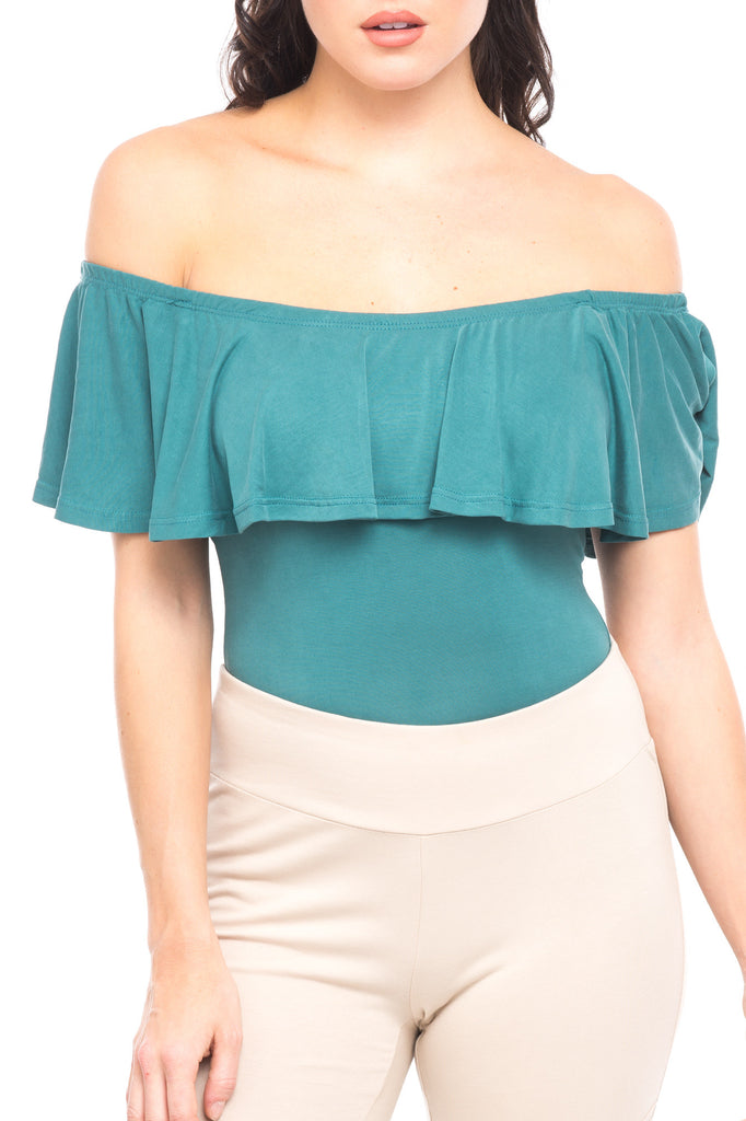 RUFFLE OFF THE SHOULDER BODYSUIT