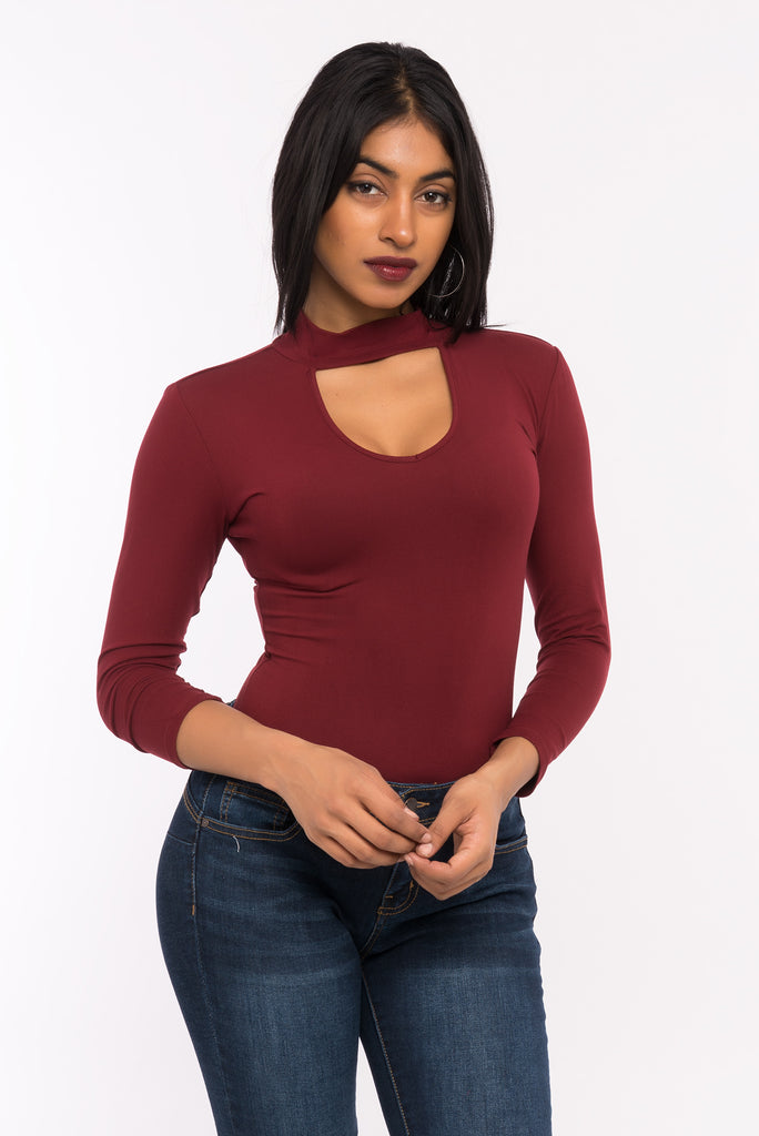 3/4 sleeve choker cut-out bodysuit