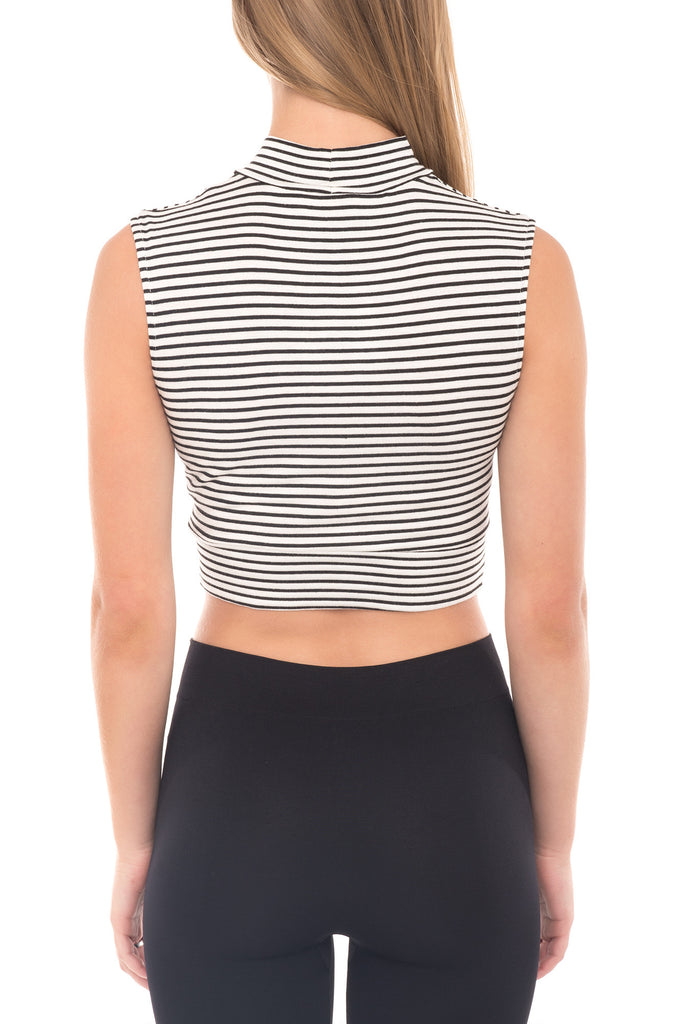 STRIPED CROSSOVER MOCK NECK TANK - PROMO 60% OFF