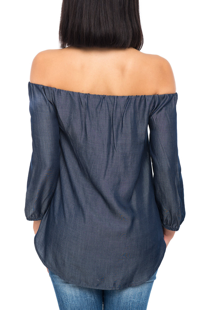 LOOSE OFF THE SHOULDER DENIM SHORT SLEEVE TOP