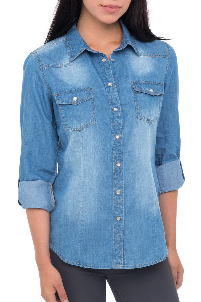 DENIM BUTTON UP TOP WITH ROLL UP SLEEVES