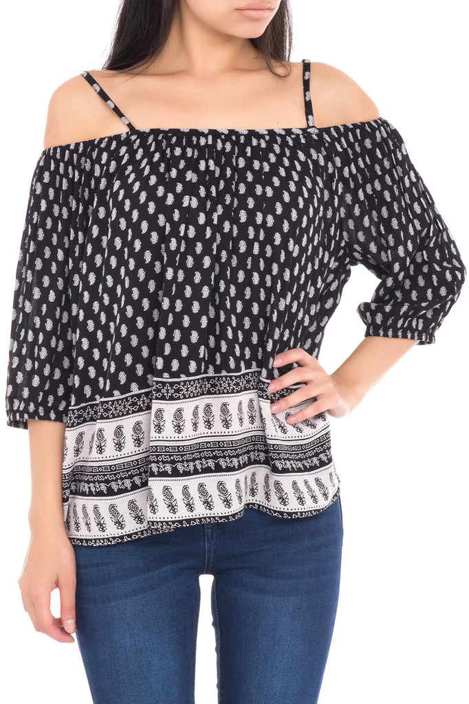 SPAGHETTI  STRAP LONG SLEEVE TOP WITH SHOULDER CUT OUTS