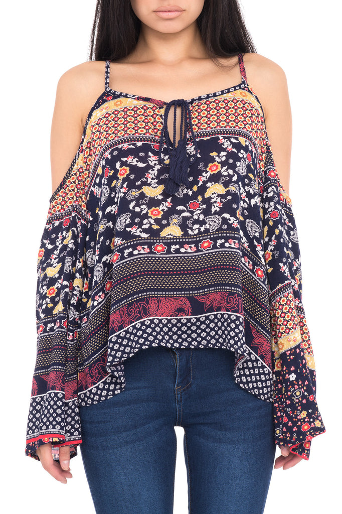 COLD SHOULDER PRINT BLOUSE