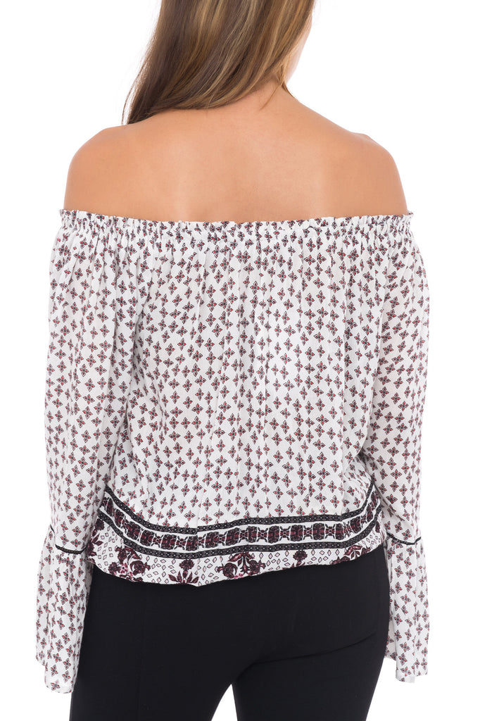 PRINTED OFF THE SHOULDER LONG SLEEVE BLOUSE