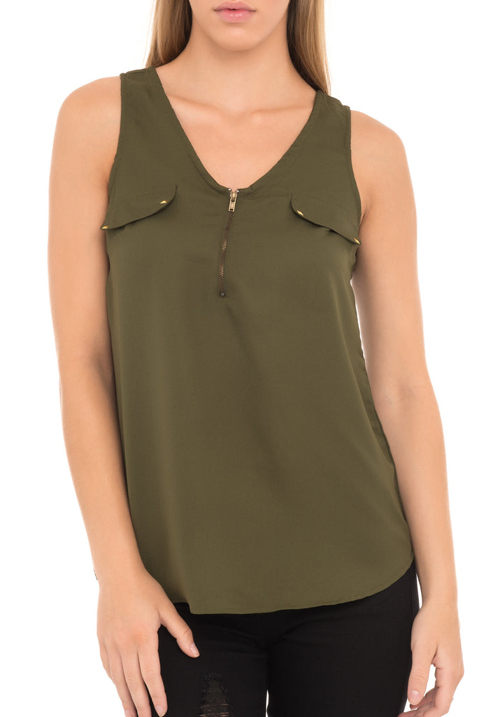 SLEEVELESS BLOUSE WITH ZIPPER NECKLINE - PROMO 60% OFF