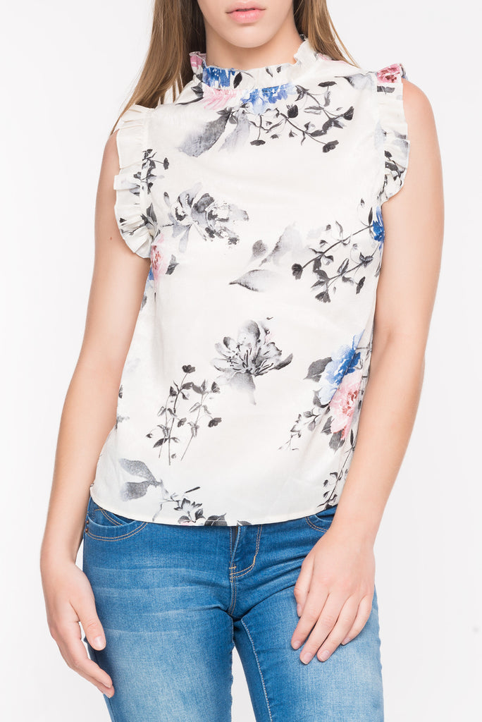 FLORAL HIGH NECK TOP