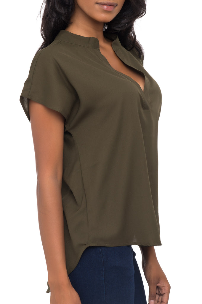 LOOSE FITTING V-NECK BLOUSE