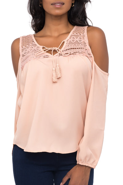 CROCHET PANEL COLD SHOULDER TOP