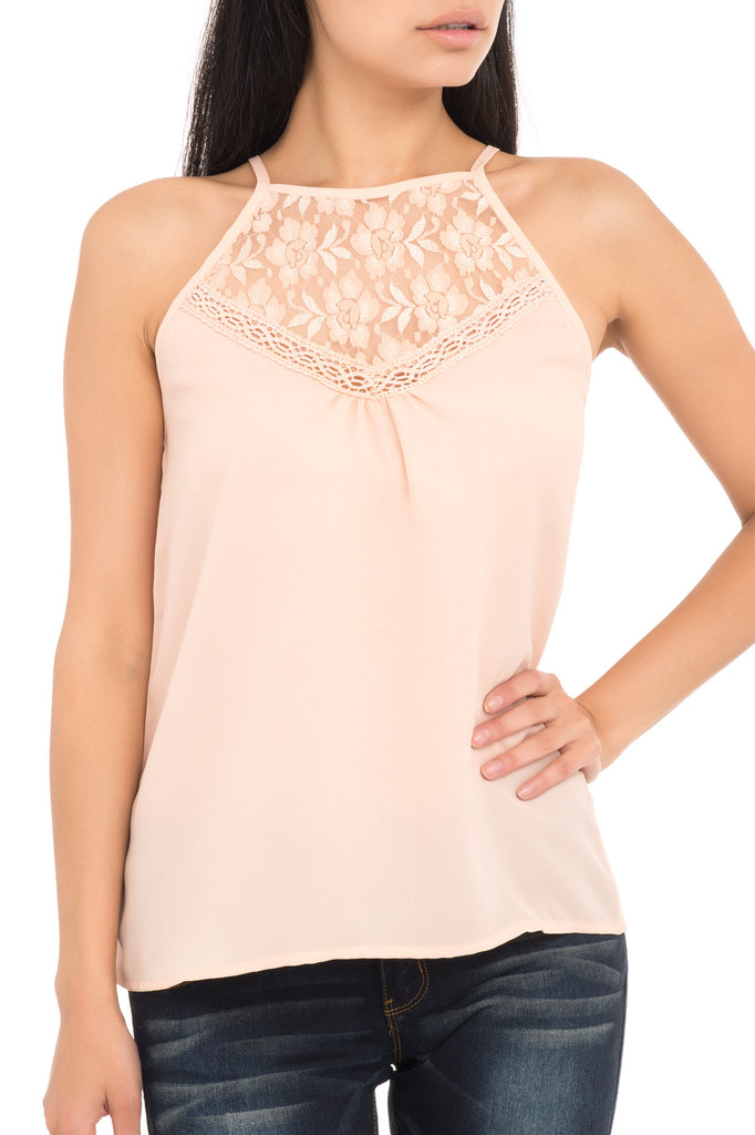 SPAGHETTI STRAP BLOUSE WITH LACE TRIM - PROMO 60% OFF
