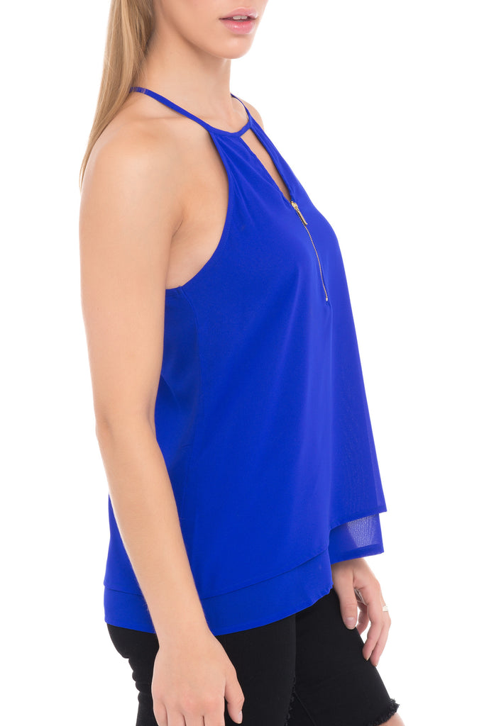 KEYHOLE HALTER TOP WITH NECKLINE ZIPPER - PROMO 50% OFF