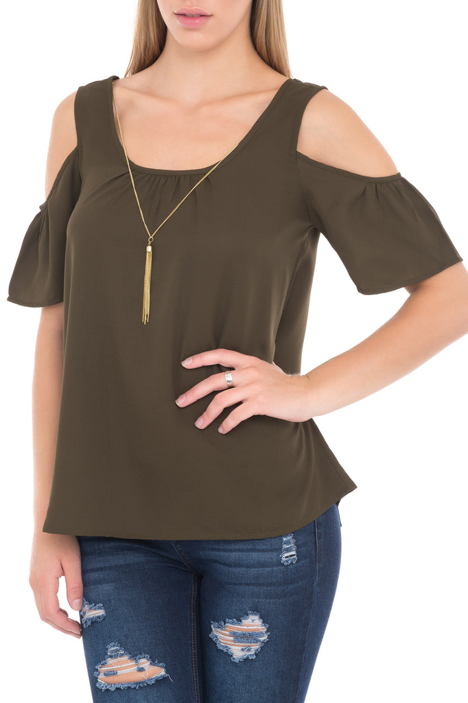 SCOOP NECK SHORT SLEEVE TOP WITH SHOULDER CUT OUTS