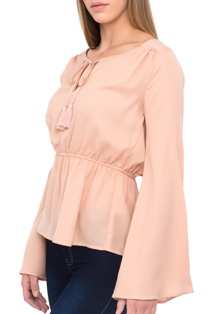 LACE-UP NECKLINE FLARED SLEEVE BLOUSE - PROMO 50% OFF