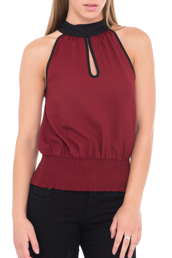 KEY HOLE HIGH NECK SLEEVELESS BLOUSE - PROMO 60% OFF