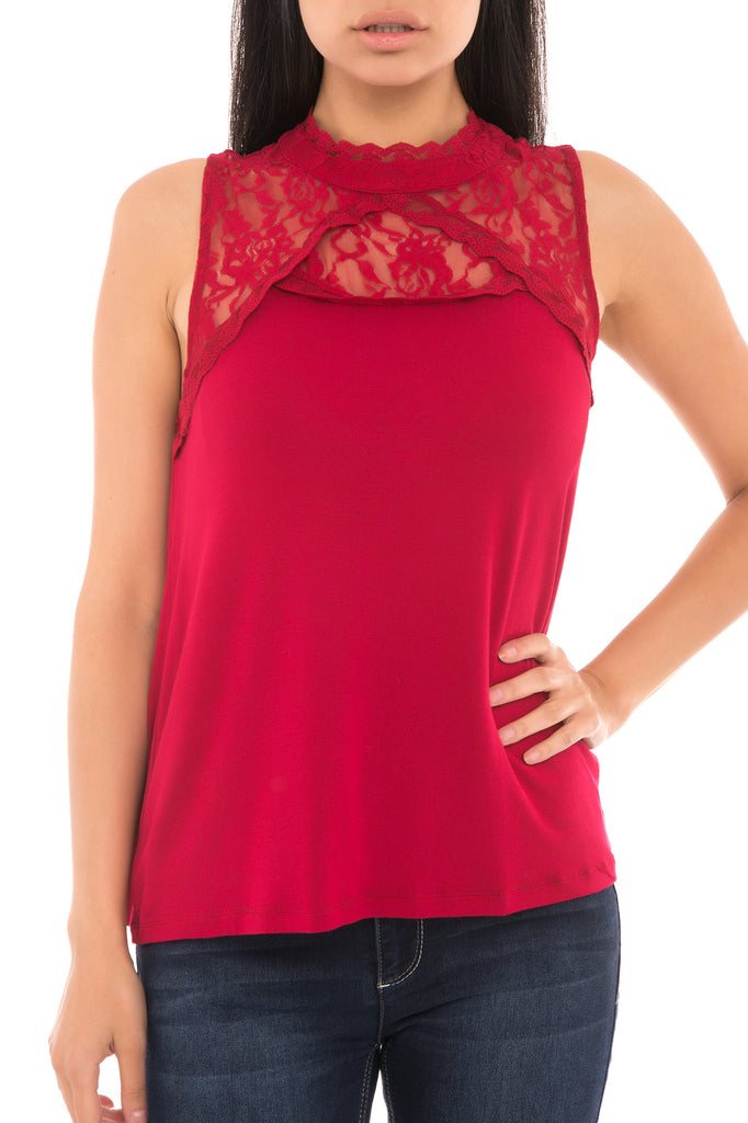SELENA HIGH NECK LACE TOP - PROMO 50% OFF