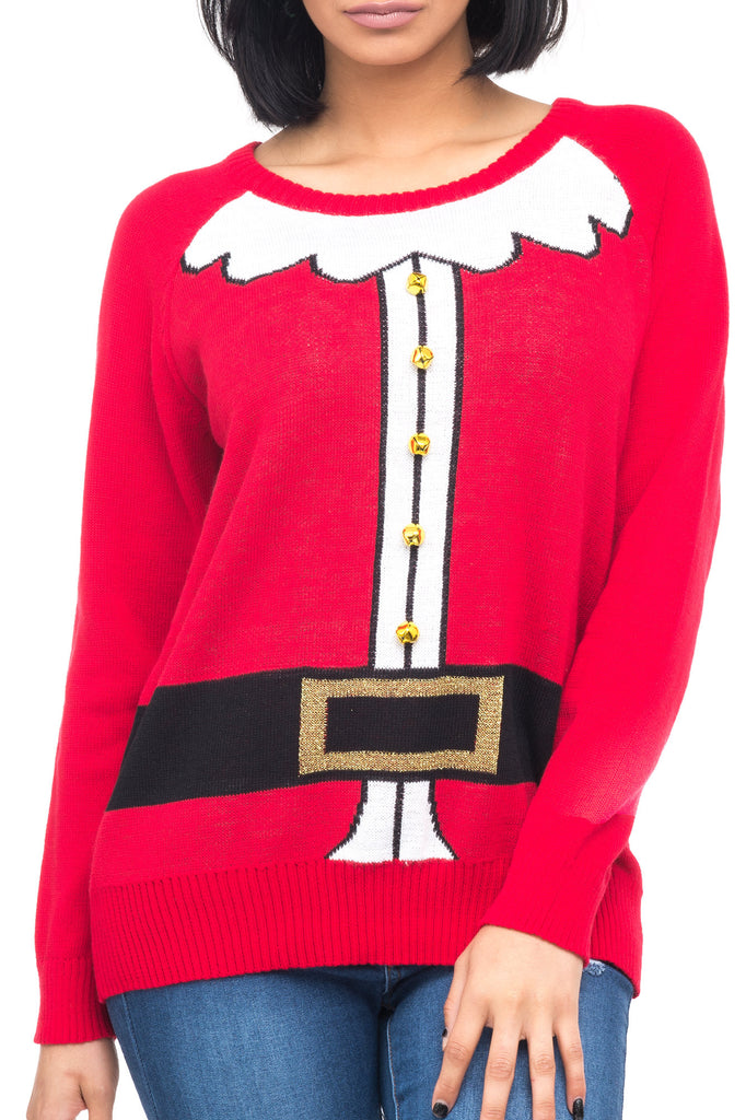 SANTA CHRISTMAS SWEATER WITH BELLS - HOLIDAY