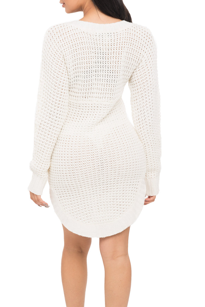 TEXTURED KNIT SWEATER DRESS