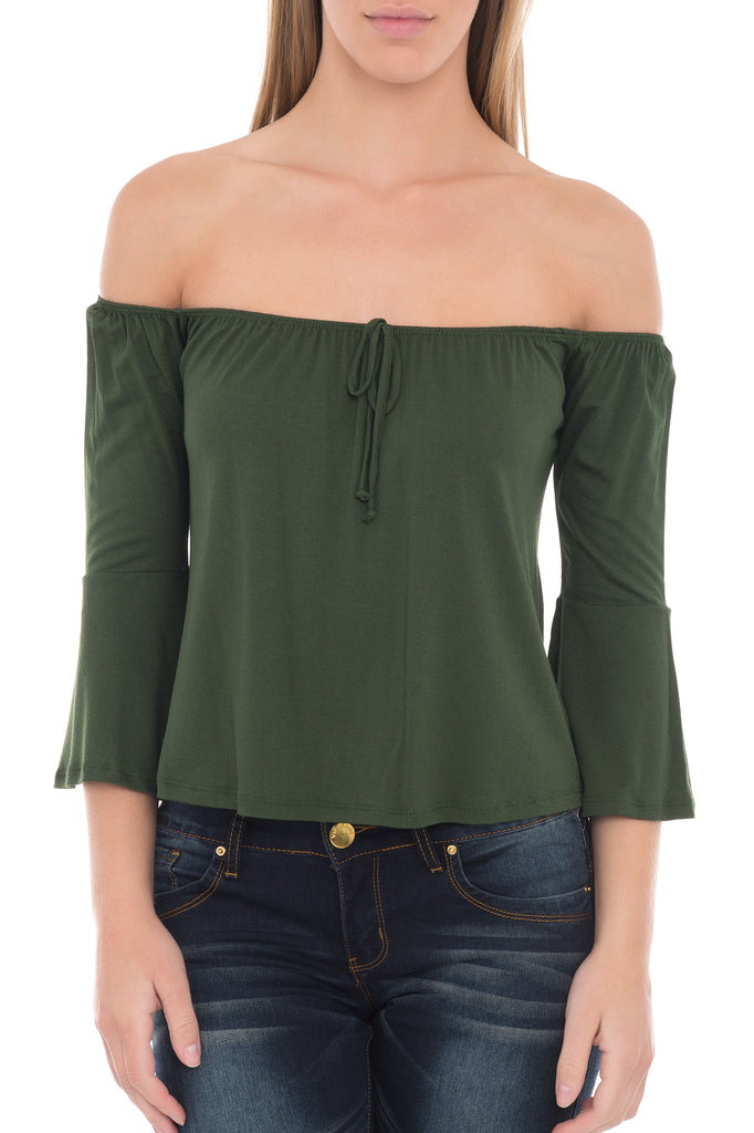 OFF THE SHOULDER FLARE SLEEVE TOP