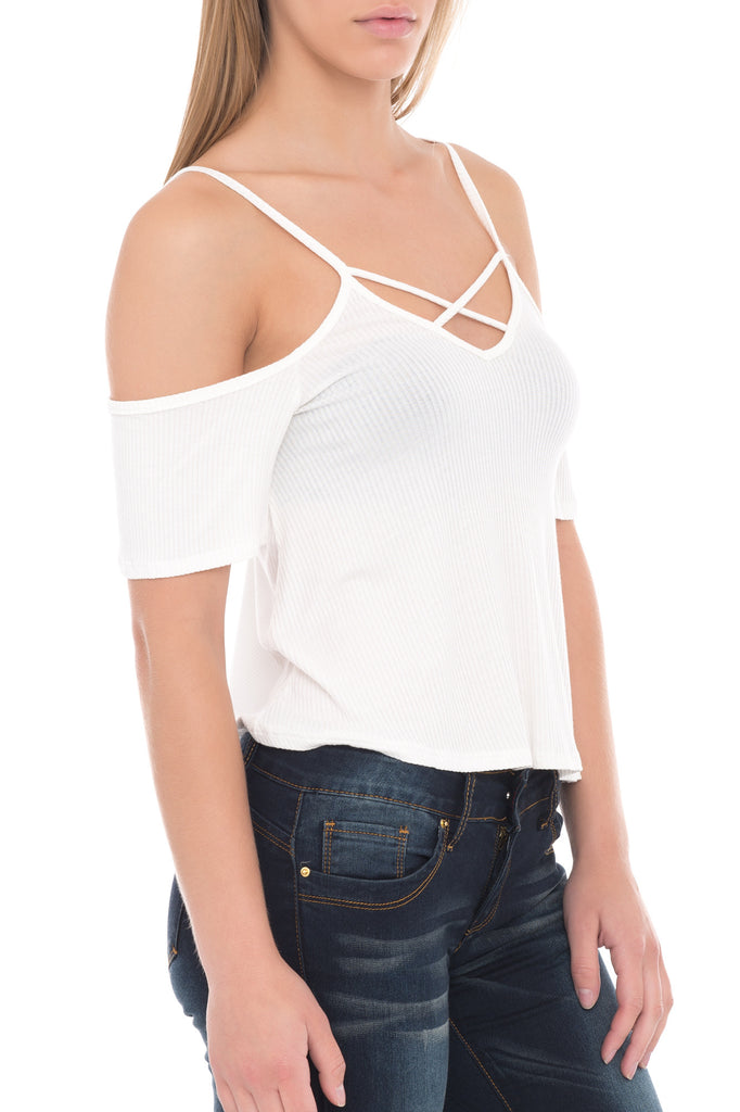 COLD SHOULDER WITH CROSSOVER NECKLINE