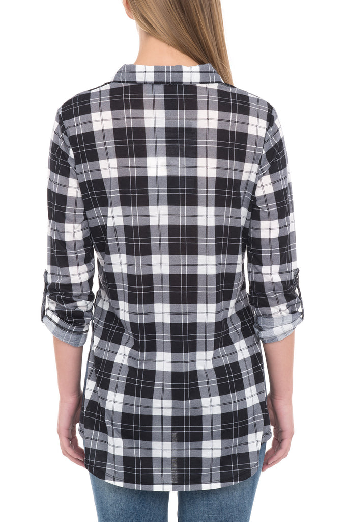 PLAID TABBED SLEEVE BUTTON-DOWN SHIRT - $12.99 PROMO