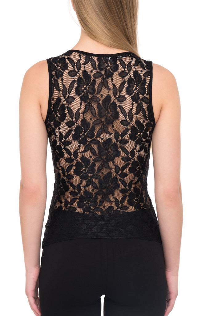 SLEEVELESS LINED LACE TOP WITH DEEP NECKLINE