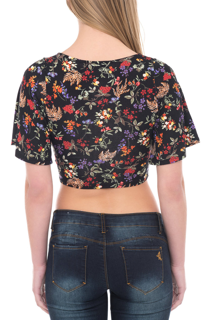 FLORAL CUTOUT CROP TOP - PROMO 50% OFF