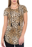 SHORT SLEEVE ANIMAL PRINT TOP WITH GOLD NECKLACE - SALE