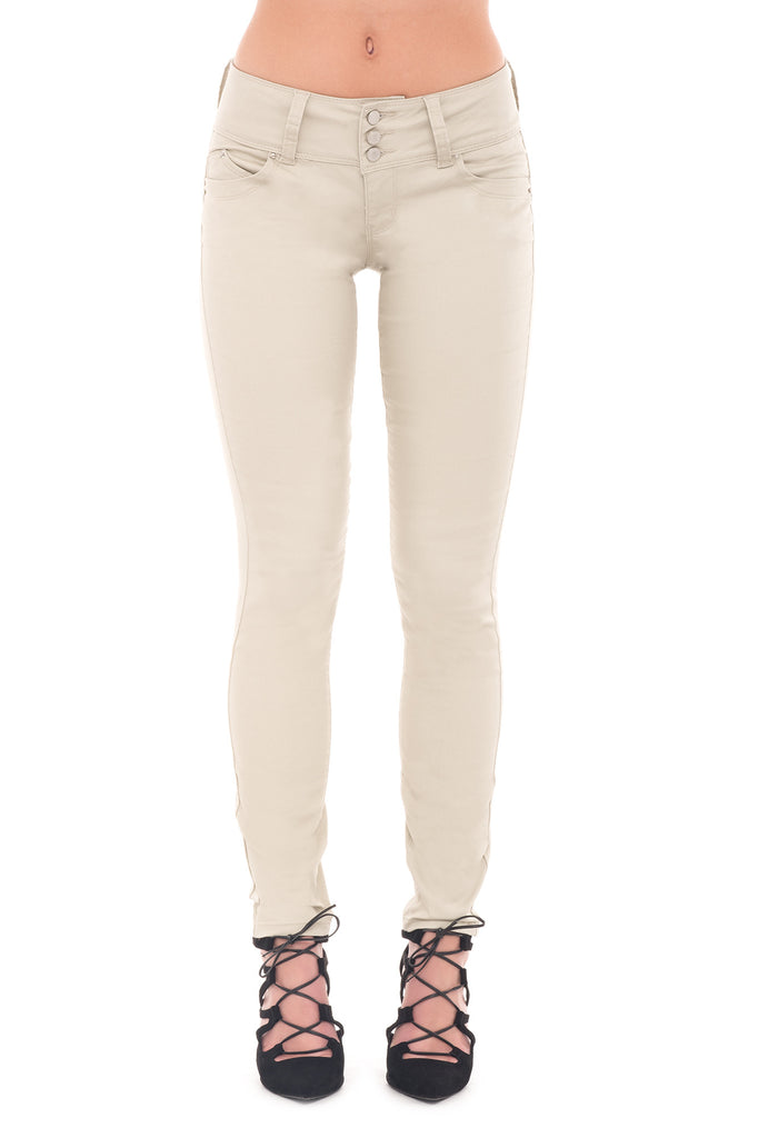 YMI TWILL 3 BUTTON WIDE WAIST SKINNY - STYLE STEALS