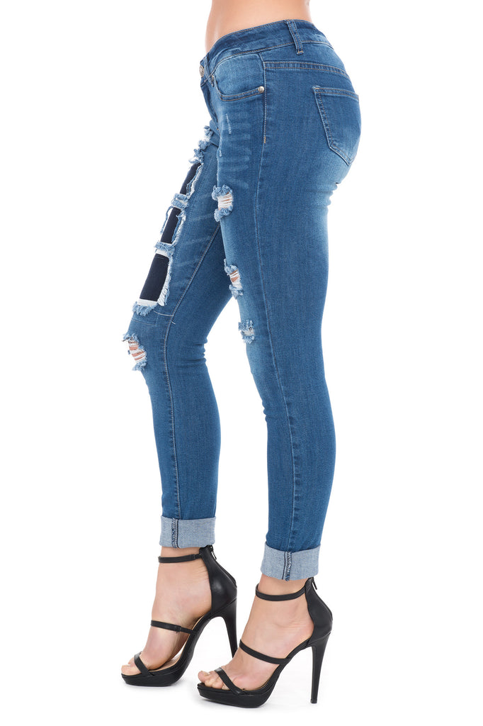 VIP JEANS DESTROYED MID RISE CUFFED JEAN