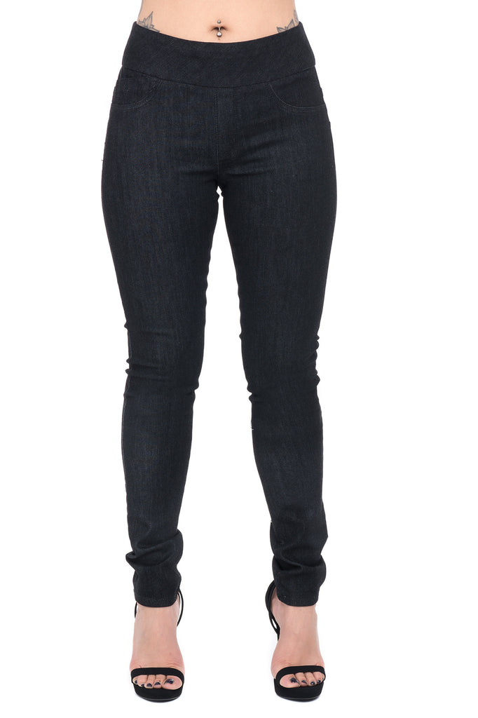 PULL ON HIGH RISE WIDE WAISTBAND SKINNY JEAN - STYLE STEALS