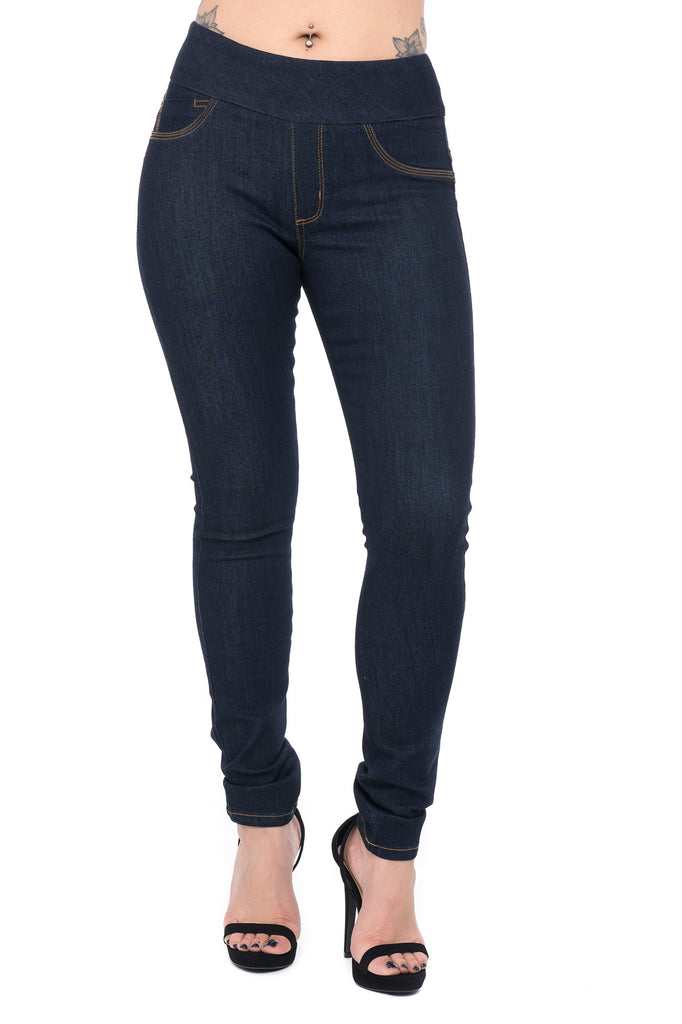 PULL ON HIGH RISE WIDE WAISTBAND SKINNY JEAN