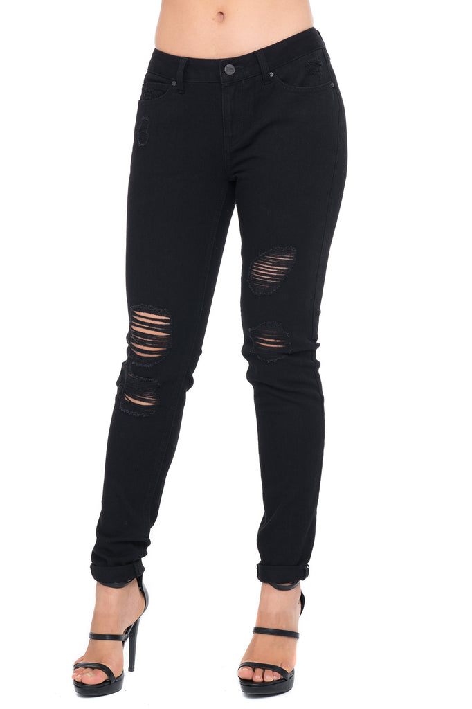 LOW RISE RIPPED BLACK SKINNY JEAN - STYLE STEALS