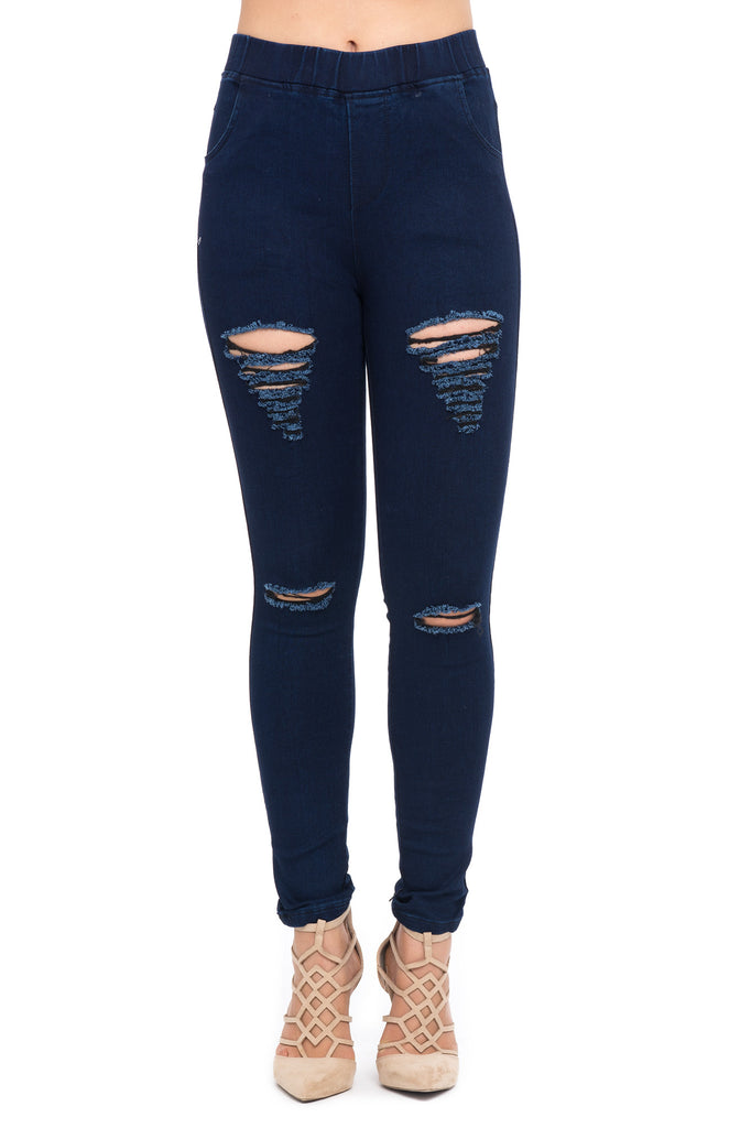 DISTRESSED HIGH RISE DARK RINSE SKINNY JEAN - PROMO 60% OFF