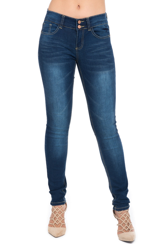 ALMOST FAMOUS 2 BUTTON MEDIUM WASH SKINNY JEAN