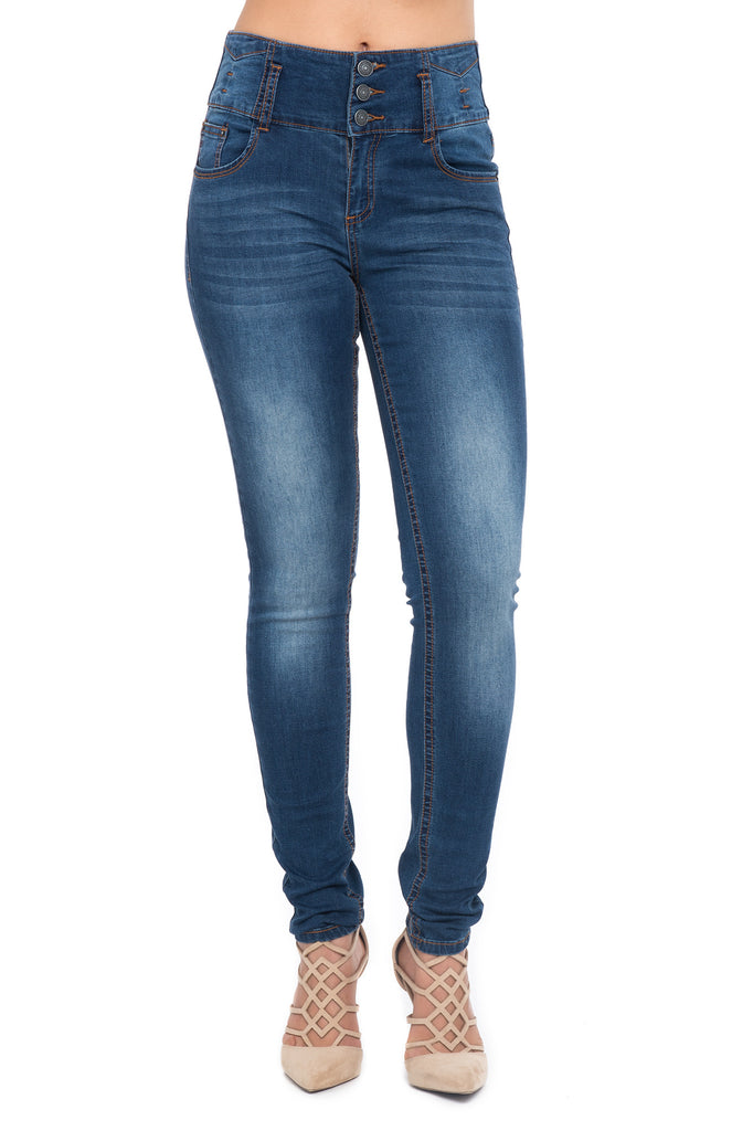 ALMOST FAMOUS 3 BUTTON HIGH WAISTED SKINNY JEANS
