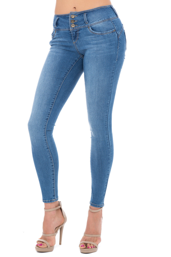 HIGH RISE PADDED BUTT ENHANCER MEDIUM WASH SKINNY JEAN