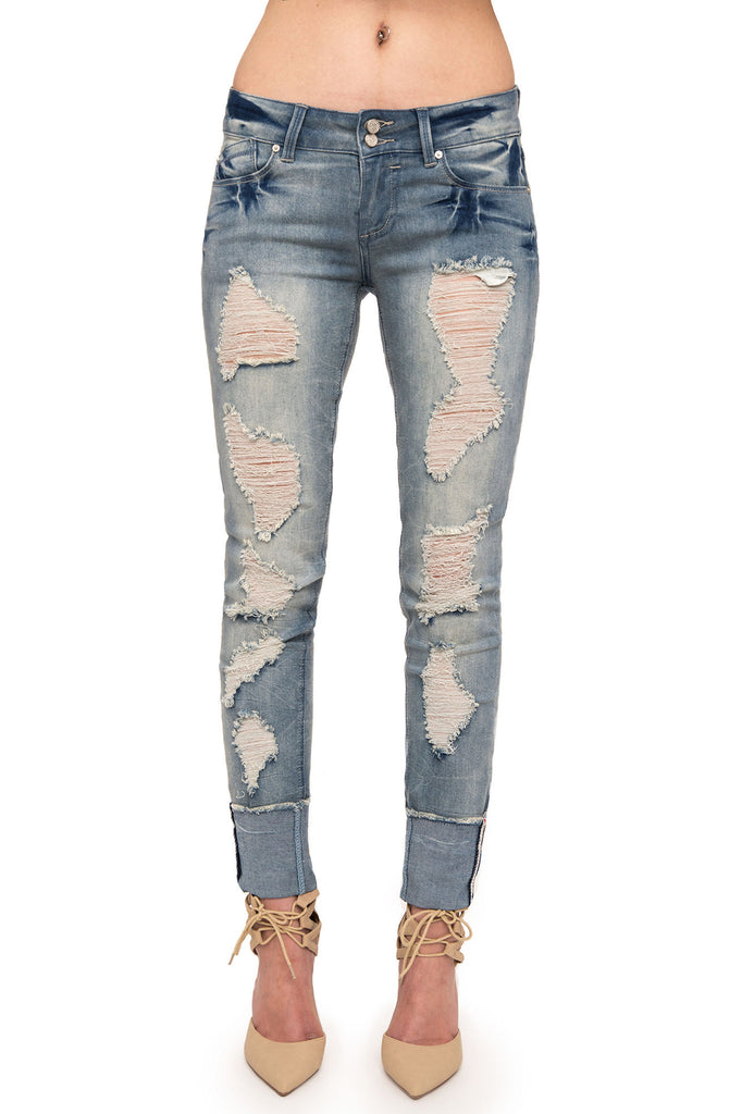 DESTROYED LOW RISE STRETCH ACID WASH SKINNY JEAN