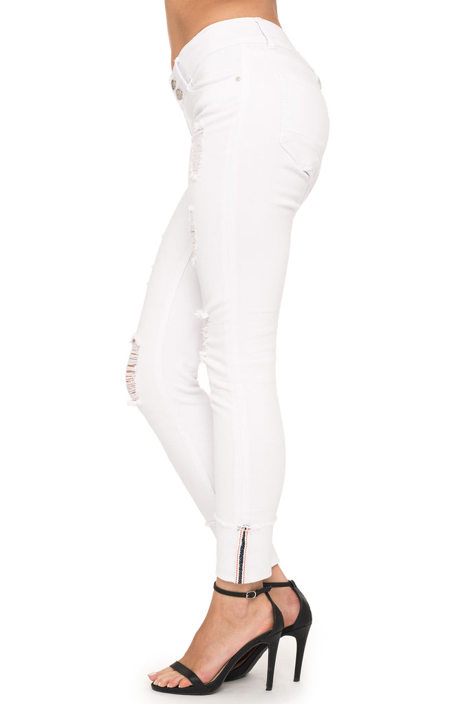 DISTRESSED WHITE LOW RISE SKINNY JEAN - STYLE STEALS