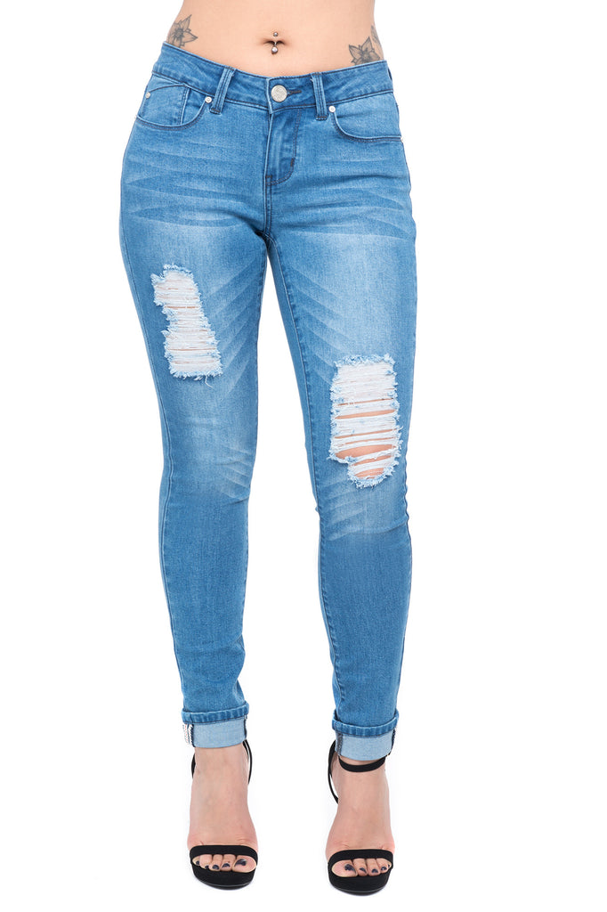 DISTRESSED CUFFED LIGHT WASH MID RISE JEAN
