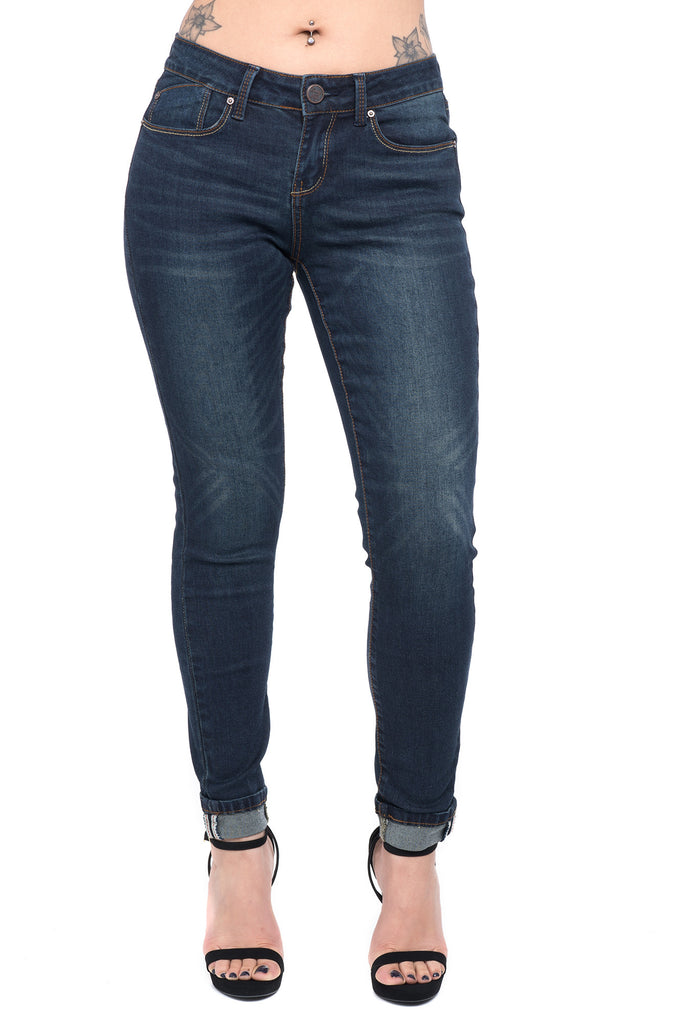 DARK BLUE LOW RISE CUFFED JEAN