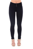 BLACK HIGH RISE 3 BUTTON SKINNY JEAN
