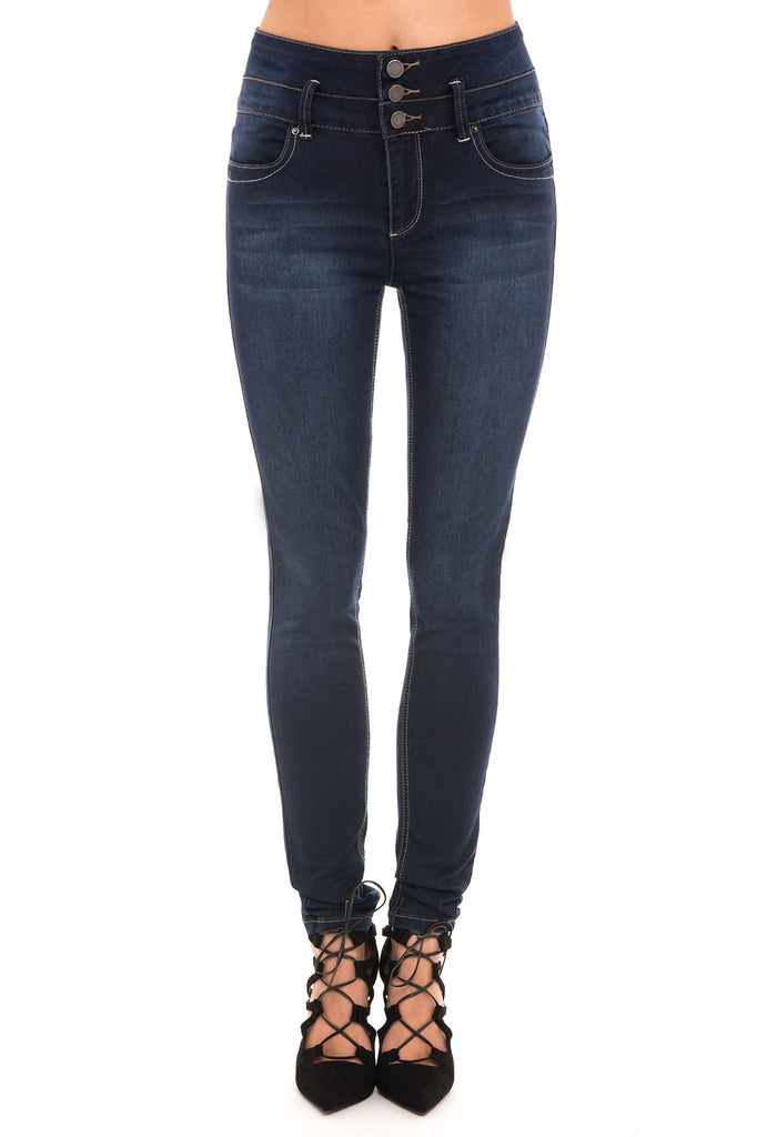 YMI 3 BUTTON HIGH WAISTED FADED SKINNY JEAN