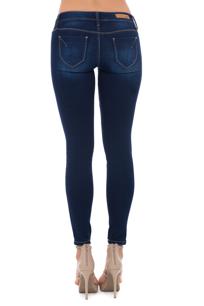 MID RISE TUMMY SLIMMING FADED DETAIL SKINNY JEAN