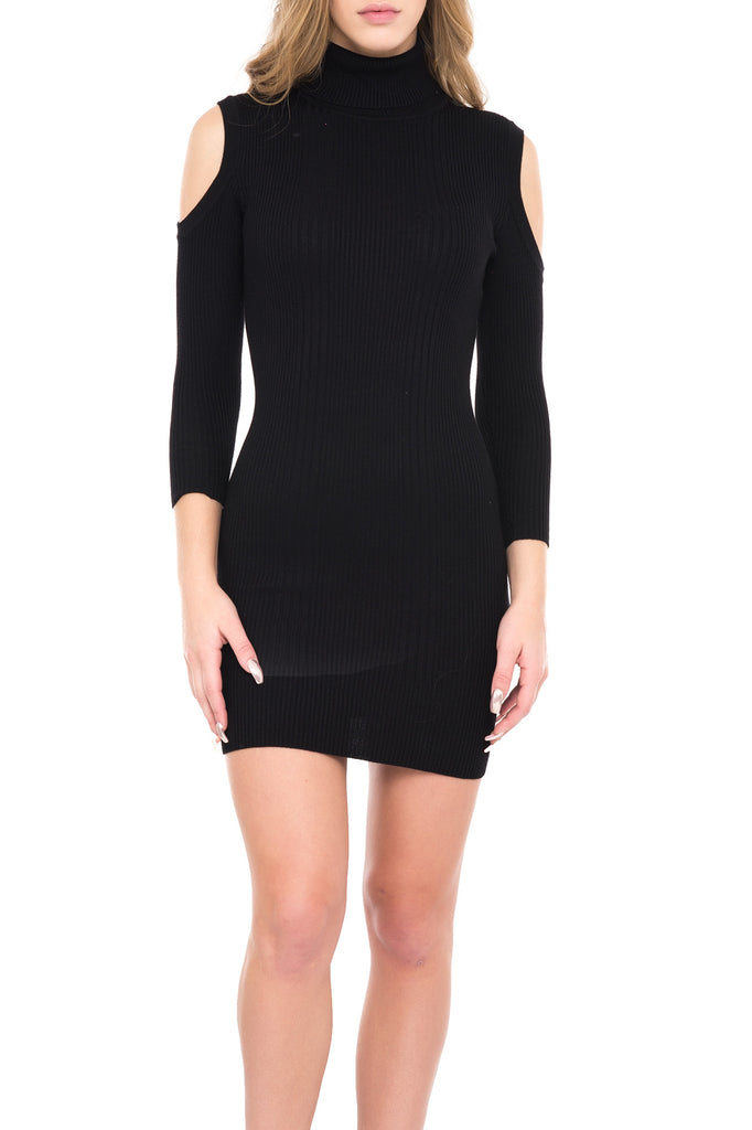 COLD SHOULDER TURTLENECK SWEATER DRESS