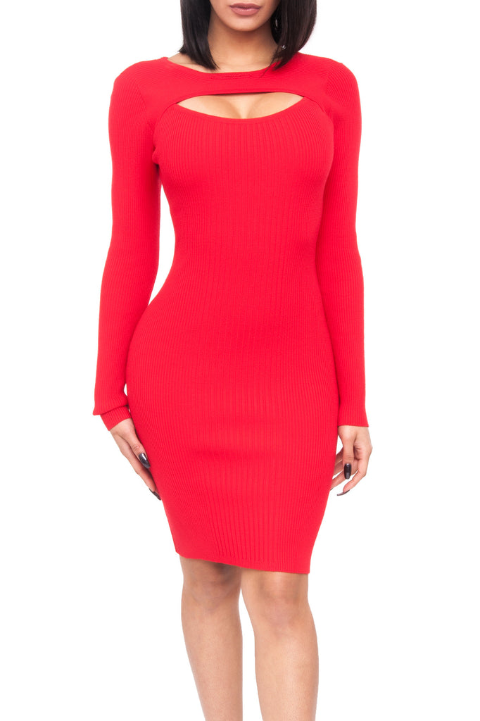RIBBED KNIT BODYCON DRESS WITH NECKLINE CUT OUT