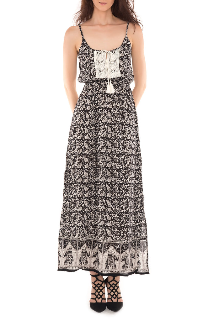 TRIBAL PRINT CROCHET PANEL MAXI DRESS - PROMO 50% OFF