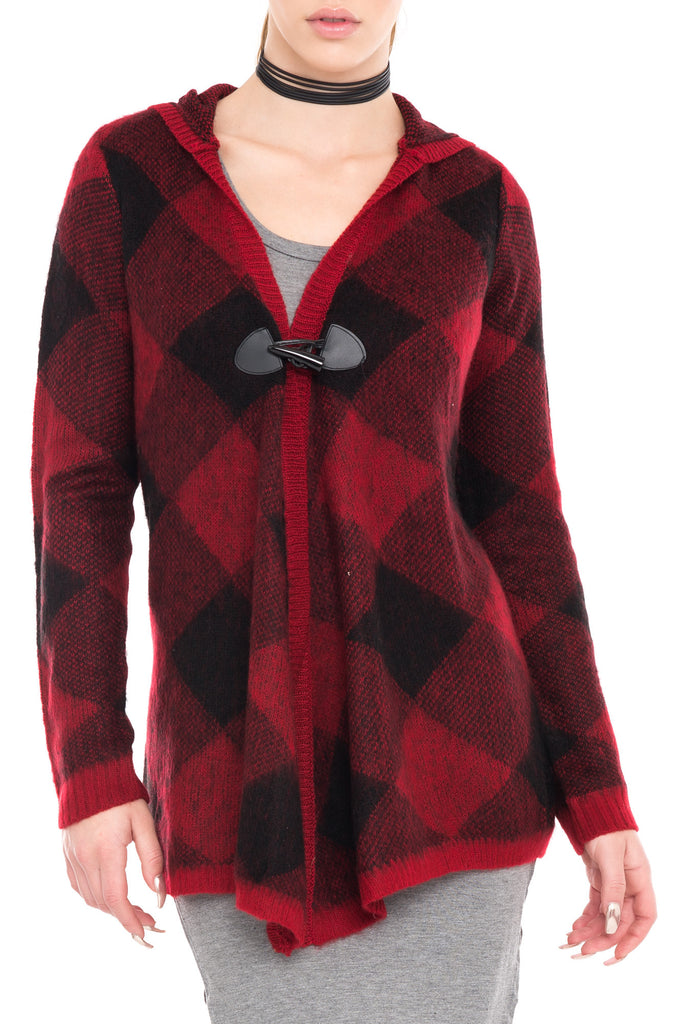 PLAID HOODED SWEATER WITH OPEN FRONT