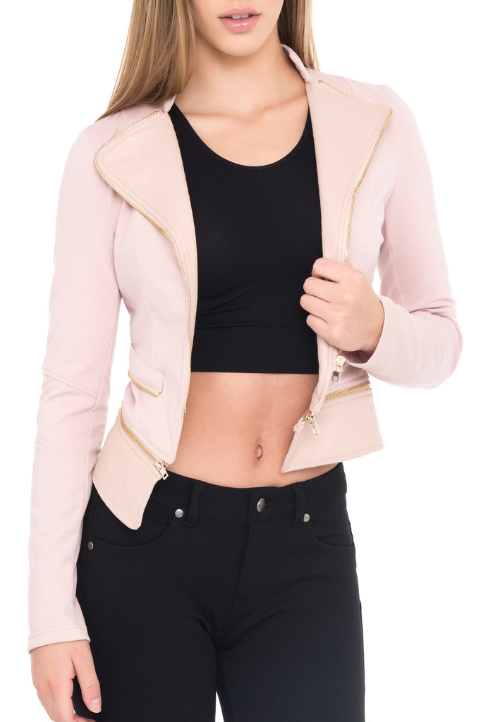 LONG SLEEVE JACKET WITH GOLD ZIP DETAIL