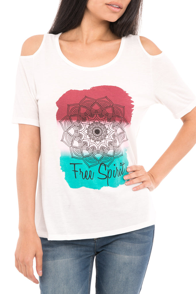 FREE SPIRIT GRAPHIC COLD SHOULDER TEE
